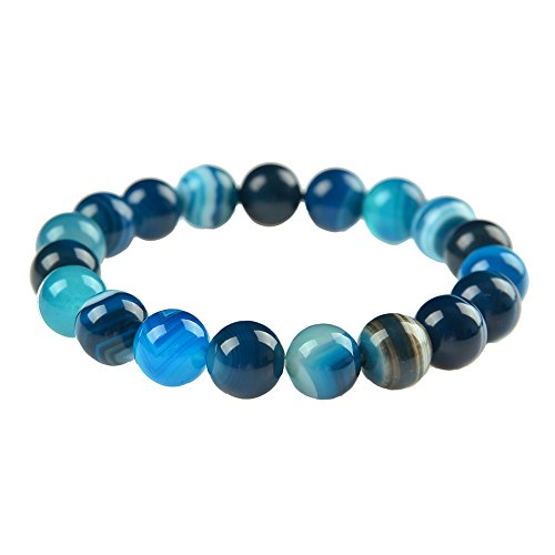 Natural Agate Stone Bead Stretch Bracelet Jewelry Christmas Gift 10mm (blue lace agate) - Lace Agate Bracelet