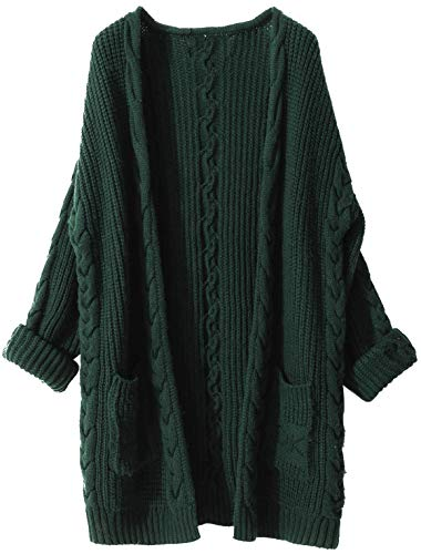 Liny Xin Women's Cashmere Loose Casual Long Sleeve Open Front Oversized Cardigan Sweater Wool Coat Sherpa Jacket with Pockets (XL, Green)