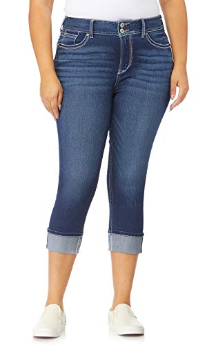 (WallFlower Plus-Size Insta Stretch Luscious Curvy Cuffed Crop Jeans in Chrystie, 14 Plus)