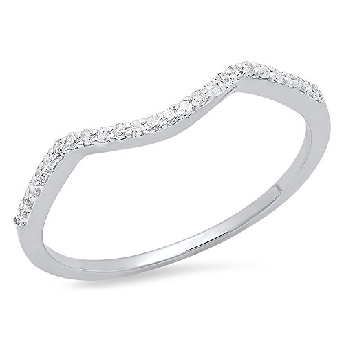 Dazzlingrock Collection 0.12 Carat (ctw) 18K Round Cut Diamond Ladies Wedding Band Contour Guard Ring, White Gold, Size 7