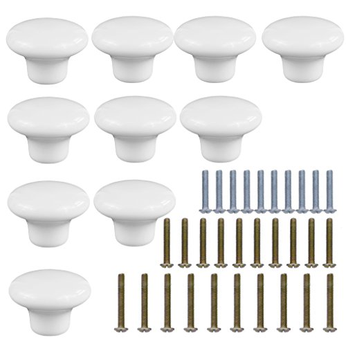 HanLingGG Ceramic Round Style Cabinet Knobs Cute Cupboard Door Knobs Drawer Dresser Pull Handles With 3 kinds of Screws -Set of 10 (White) by HanLingGG
