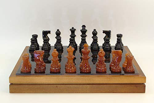 Alabaster Chess and Checkers Set w/ Storage Chest Board (Chess Alabaster Board)