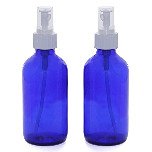 2 Blue Glass Mist Spray Bottles. Medium 8 oz Misting Bottle. Food safe. Fine Mist for Spraying Plants, Cleaning Vinegar, Essential Oils Mister. Empty Refillable sprayer for Kitchen Home Hair Ironing. by Sanctuary Organics (Image #2)