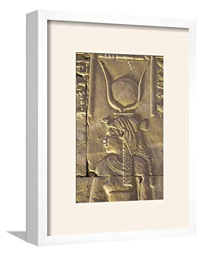 ArtEdge Relief Depicting The Goddess Hathor, Temple of Horus, Edfu, Egypt, North, Africa by Richard Maschmeyer, Wall Art Framed Print, 12x8, Soft White ()