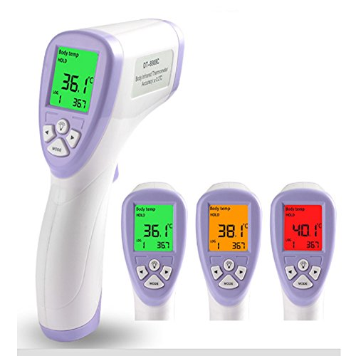 Forehead Digital Thermometer,Vishm Non-Contact Instant Read Infrared Body Temperature Thermometer,Large LCD Display with 3 Color Backlight Fever Alert for Baby / Adult/ Child /Pets/Surface of Objects