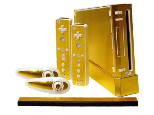 Nintendo Wii Skin - NEW - BRUSHED GOLD system skins faceplate decal - Wii Golds