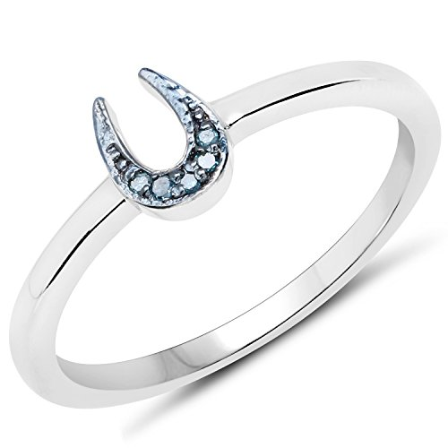 Diamond Ring Ladies Horseshoe (LoveHuang 0.02 Carats Genuine Blue Diamond (I-J, I2-I3) Horseshoes Ring Solid .925 Sterling Silver With Rhodium Plating)