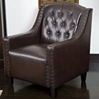 Christopher Knight Home 229678 Gabriel Tufted Leather Club Chair, Brown