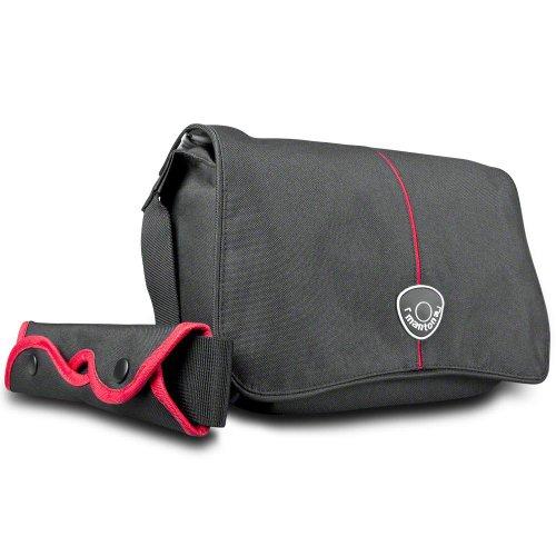 Mantona Cool Bag SLR-Kameratasche (Messenger Bag, Universaltasche) schwarz/rot