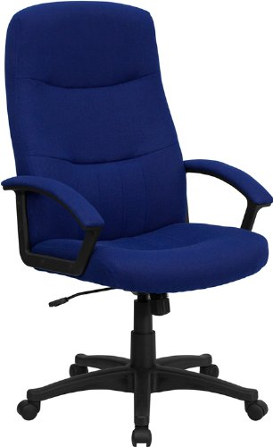 Flash Furniture High Back Navy Blue Fabric Executive Swivel Chair with Arms