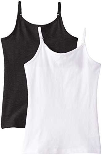 Price comparison product image The Children's Place Big Girls' Spaghetti-Strap Camisole (Pack of Two), Black/White, Large (10/12)