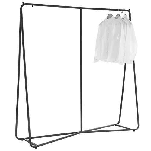 Industrial Style Freestanding Black Metal Garment Hanging Rack, Clothing Closet Storage System by MyGift