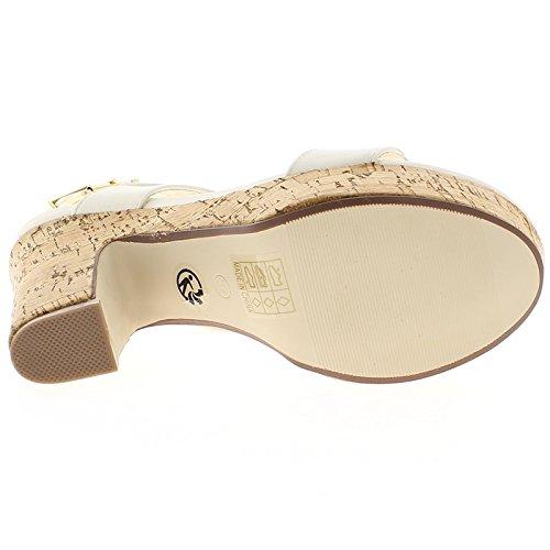 Blanco sandalias de gran Tacon 13cm y anchos rebordes con plataforma