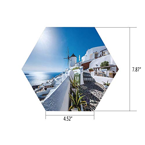 PTANGKK Hexagon Wall Sticker,Mural Decal,Summer,Ancient Oia Village in Santorini Island Greece with Aegean Sea Scenery Image,Blue and White,for Home Decor 4.52x7.87 10 Pcs/Set -