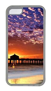 Customized Case landscapes nature sunset beach 2 TPU Transparent for Apple iPhone 5C