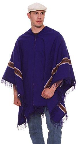 Hombre Alpaca Poncho Azul Para Gamboa De AP4qwY