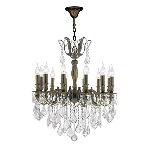 Worldwide Lighting Versailles Collection 12 Light Antique Bronze Finish and Clear Crystal Chandelier 27