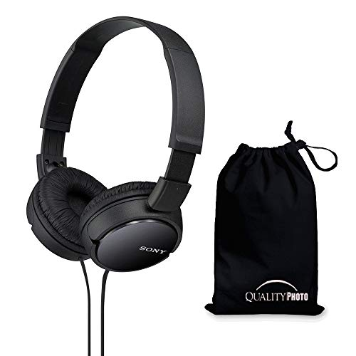 Sony MDRZX110 ZX Series Stereo Headphones (Black) with Ultra Soft Travelers Pouch ...