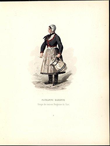 Saxon Costume (Saxon Peasant Black Leather Boots c.1860 antique ethnic color costume print)
