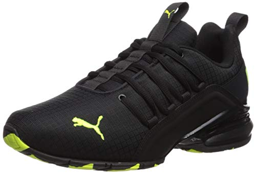 PUMA Men's AXELION Sneaker, Black-Yellow Alert, 5 M US Big Kid]()