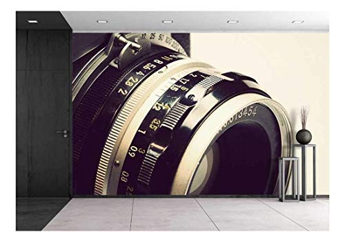 wall26 - Old Film Camera and Lens - Removable Wall Mural | Self-Adhesive Large Wallpaper - 66x96 inches