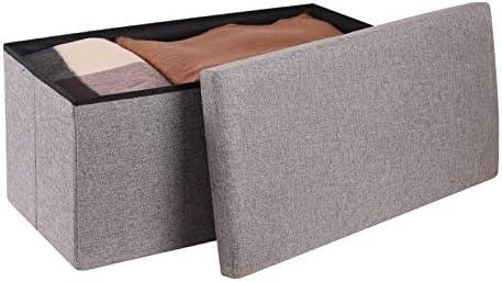 PENGKE Foldable Storage Ottoman,Cotton Linen Footrest Shoe Bench