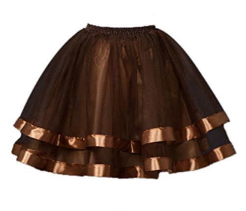 Women's Short Petticoat Elastic Waistband Tutu Tulle Mini Skirt (First Halloween Costumes Uk)