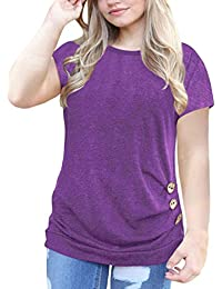 222083789e5 Women s Plus Size Casual Short Sleeve Buttons Tunic T Shirt Blouse Tops