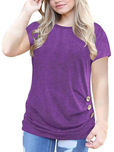 Womens Plus Size Tunic Shirt Short Sleeve Buttons T-Shirt Blouse Tops Purple 24W