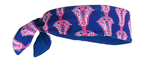 UNIQUE LACROSSE PRINT HEADBAND FOR SPORTS WORKOUTS, FASHION, STYLISH TWO COLOR COMPLETELY REVERSIBLE FOR ALL SPORTS MOISTURE WICKING STRETCH FABRIC ADULTS KIDS CUSTOM ONE SIZE FITS ALL SPORTS
