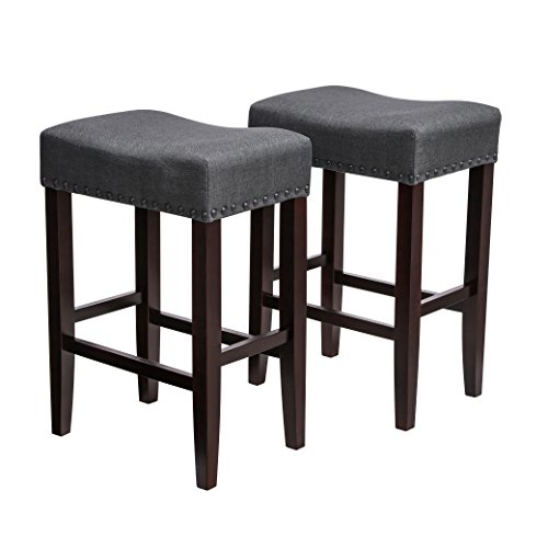 SONGMICS Set of 2 Bar Counter Stool, Well-Padded Dining Chair, Solid Wood Legs, Cotton-Linen Fabric, Seat Height 26.4 Inches, with Footrest Gray ULDC38GY