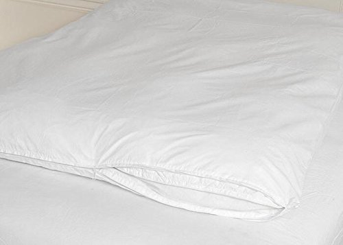 Cotton Zippered Feather Bed Cover White King