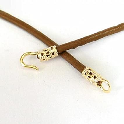 Dreambell 1 Set Gold-tone 925 Sterling Silver 2mm Crimp End Cap Hook and Eye
