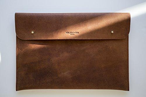 HOLZRICHTER handgefertigte Lederhülle für Ultrabooks, Apple Macbook 13/Air/Retina. Hochwertige Sleeve Tasche aus Leder 13 Zoll - Camel-Braun camel