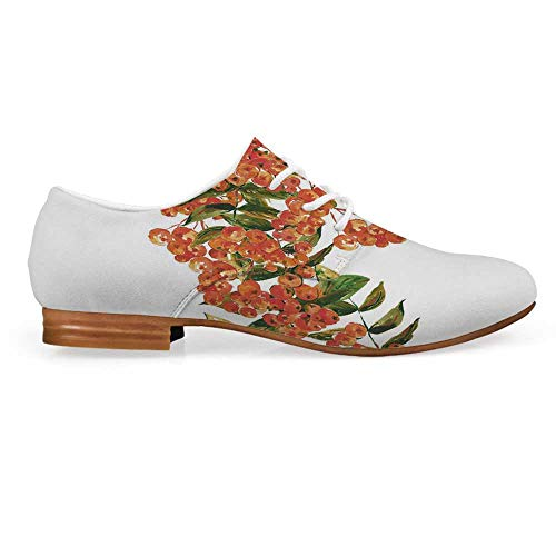 (Rowan Leather Lace up Oxfords Shoes,Hand Painted Border Full of Rowan Berries Vintage Style Watercolor Flora Bootie for Girls ladis Womens,US 11)