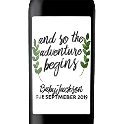 """Baby Party Announcement"" Custom Wine Label Bottle Stickers for Pregnancy Announcement and Baby Shower Party - Gifts for Guests, Event Invitation - Unique Specialized Personalized Bespoke Set of 4"