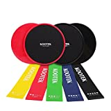 Kootek Resistance Bands Core Sliders Finess Kit 80 Day Obsession, 4 Pack Double Sided Gliding Discs Exercise Bands Bundle, Loop Bands Floor Gliders Home Gym Workout