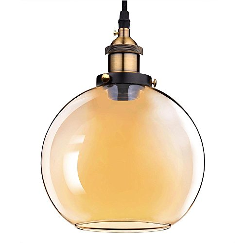 7.9'' Vintage Industrial Classic Amber Glass Pendant Light Ball Shade For Kitchen Living Room Home Restaurant Spa Hotel Coffee Shop Bar by Generic