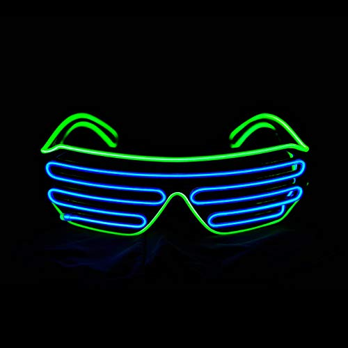2986ec9081 LERWAY Black Frame Neon El Wire LED Light Up Shutter Glasses Two Colors+  Standard Controller (
