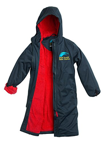 Great Aussie Swim Parkas (Swim Robe/Swim Jacket (Adult 2XLarge, Navy/Red) ...