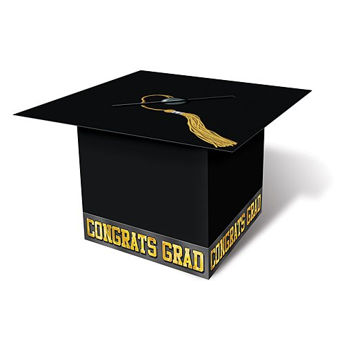 Grad Cap Card Box (black) Party Accessory  (1 count) (1/Pkg) (Gift Holders Graduation Card)