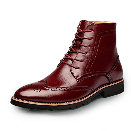 Toe Boots Steel Jump (Giles Jones Mens Motorcycle Boots Autumn Winter Retro Non-Slip Wingtip Brogue Combat Boots)