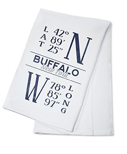 Buffalo, New York - Latitude and Longitude (Blue) (100% Cotton Kitchen Towel) (Latitude And Longitude Of New York Usa)