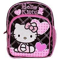 New Sanrio Hello Kitty Pink/Black Mini Backpack with Heart School Bag (JoyAve)