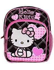 New Sanrio Hello Kitty Pink/ Black Mini Backpack with Heart School Bag (JoyAve)