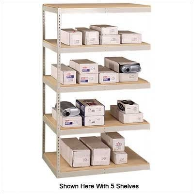 "Penco 46045HP Add-On Unit Double Rivet Shelving without Center Support, 5 Shelf, 72"" x 36"" x 120"", (723) Light Putty Color"