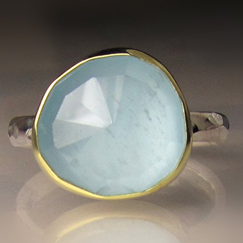 Rose Cut Aquamarine Ring in 18k Gold and Sterling Silver