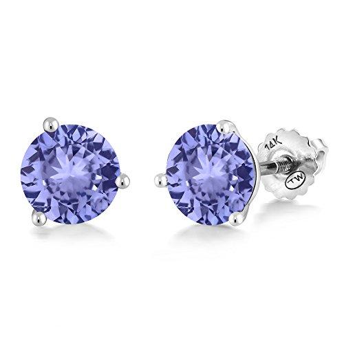 - Gem Stone King 14K White Gold Blue Tanzanite Martini Setting Women's Stud Earrings 1.80 Ct Round Gemstone Birthstone 6MM
