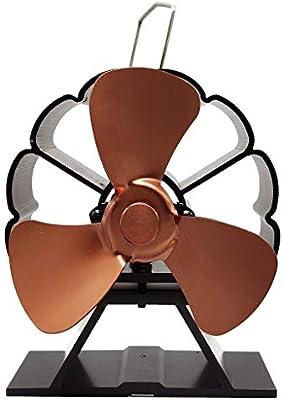Wondful - Ventilador de aluminio para chimeneas y fogones (3 hojas, mini calentador, silencioso, respetuoso con el ...