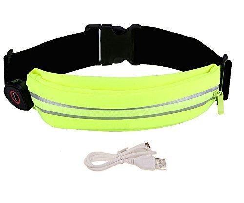 Universal LED Running Gürtel Taille Tasche, oleeda Schweiß-Running Gürtel mit USB wiederaufladbare LED-Licht für Workout Running Wandern, Unisex Tasche Tasche für Handy/Geld/Schlüssel und mehr